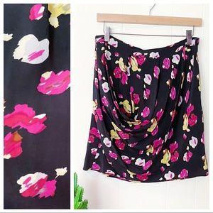 Anthropologie Dolan Silk Floral Cowl Mini Skirt